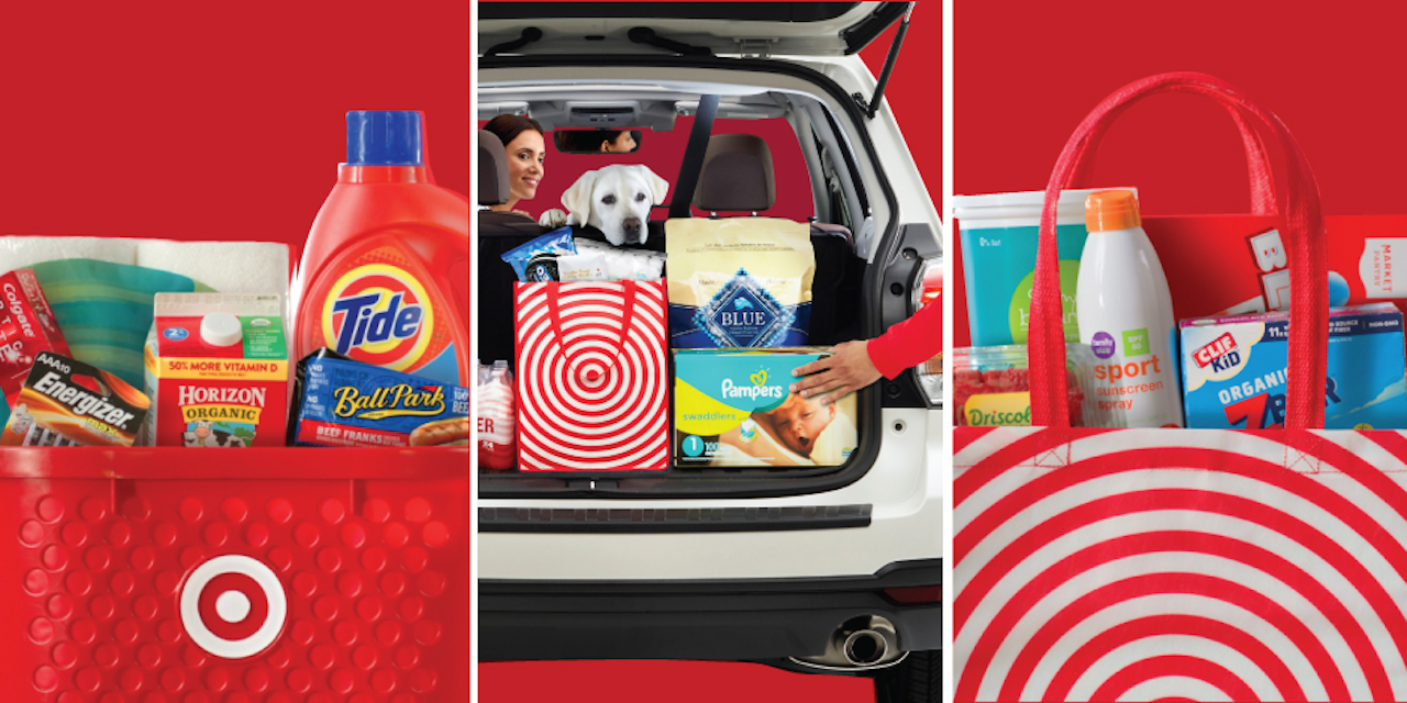 Target campaign advertisement featuring a female driving a car and an employee delivering household item to her trunk.