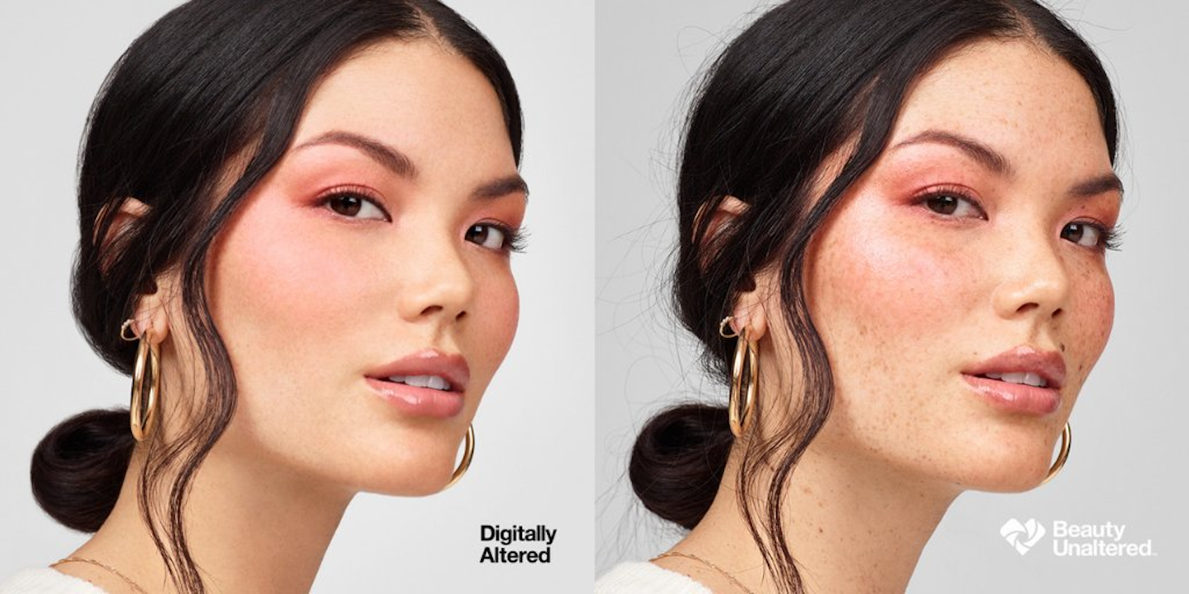 CVS advertisement showing a digitally altered female face on left side and picture of the same face unaltered on the right